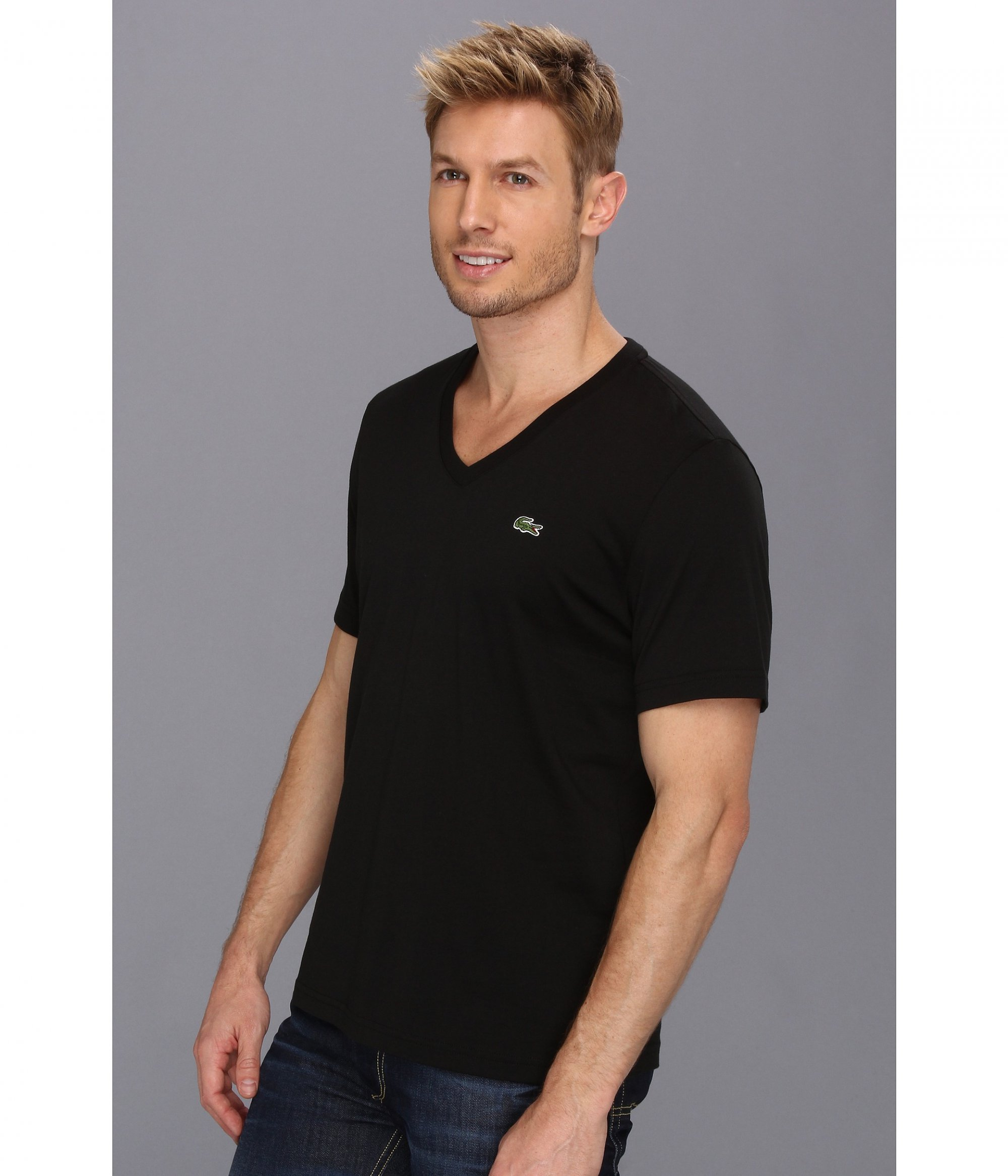3bce3185 Lacoste Men's V-Neck Regular Fit Short Sleeve T-Shirt